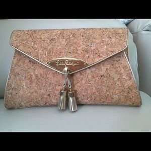 Lilly Pulitzer Cork with gold flakes large clutch